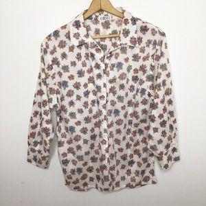 Vintage floral cottage core shirt medium